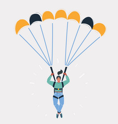 Woman with parachute on white vector