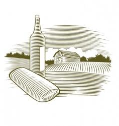 woodcut wine bottle vector image