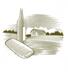 Woodcut wine bottle vector