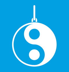 Yin yang symbol icon white vector