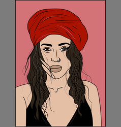 young beautiful woman in red turban vector image