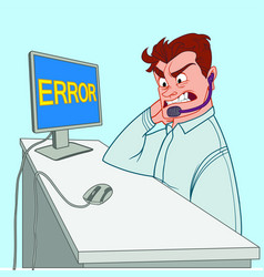 Young call canter worker angry at computer error vector