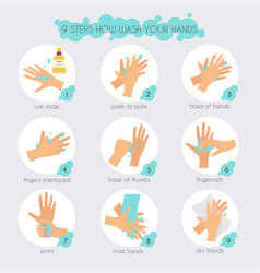 9 steps to properly wash your hands flat design vector
