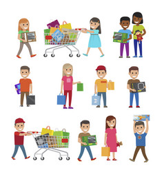 children with purchases set of icons on white vector image