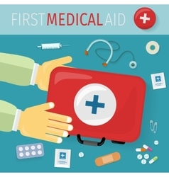 First Medical Aid kit and its Content Equipment vector image vector image