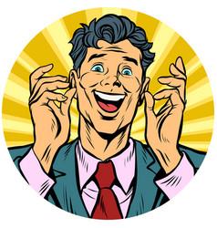 happy man pop art avatar character icon vector image