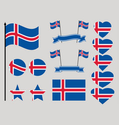 iceland flag set collection of symbols heart vector image