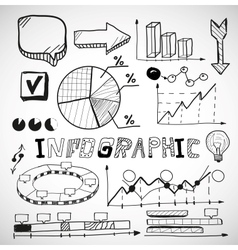 Infographic business graphs doodles vector image vector image