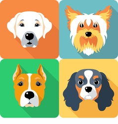 Set icon flat design dogs different breed vector