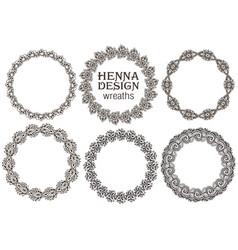 set of henna floral frames vector image vector image