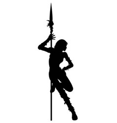 Striptease silhouette of warrior woman vector image