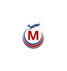 Airplane logo initial m vector