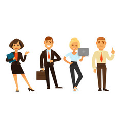 business people group of four isolated on white vector image vector image