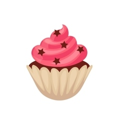 Chocolate cupcake with pink colored icing cartoon vector image vector image