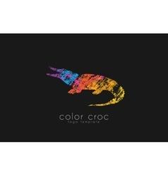crocodile logo design color croc animal logo vector image vector image