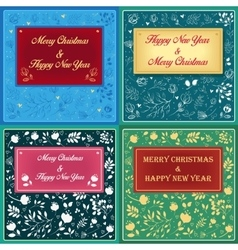 Floral greeting christmas cards vector image
