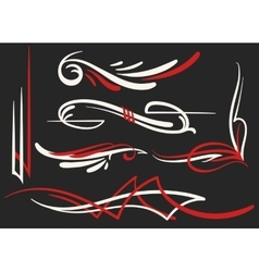 two colored pinstriping ornaments set vector image