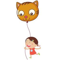 A young girl holding a cat balloon vector image vector image