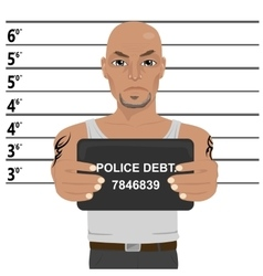 Latino gangster with tattoos holding mugshot vector image