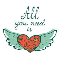 all you need is love concept card with flying vector image