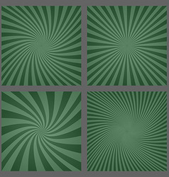 Dark green spiral and ray burst background set vector image