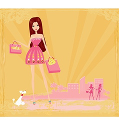 fashion girl on Shopping vector image