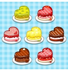 fruit and chocolate Cakes in the form of heart vector image vector image