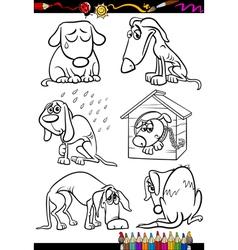 sad dogs group cartoon coloring book vector image