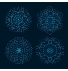 Set of Ethnic Fractal Mandala Meditation vector image