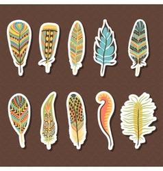 Set of ten feathers vector image