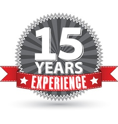 15 years experience retro label with red ribbon vector