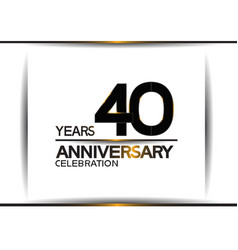 40 years anniversary black color simple design vector