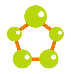 Abstract green molecules icon isolated vector
