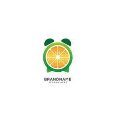 Alarm clock and fruit logo design clock vector