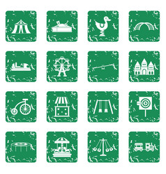 amusement park icons set grunge vector image