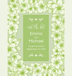 Apple bloom floral wedding invitation elegant vector