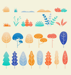 autumn leaves and plants flat design set vector image