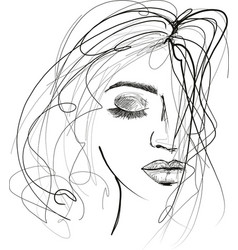 Beautiful woman sketch with messy hair vector