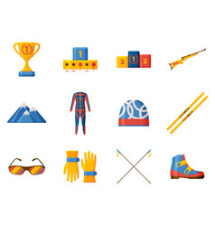 biathlon icon collection set with equipment wear vector image
