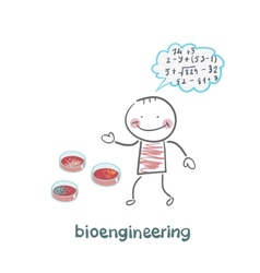 Bioengineer thinking about the numbers and looking vector
