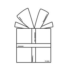 birthday giftbox cartoon in black and white vector image