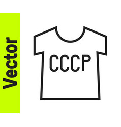 black line ussr t-shirt icon isolated on white vector image