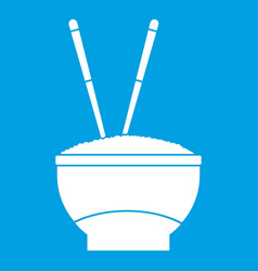 Bowl of rice with chopsticks icon white vector