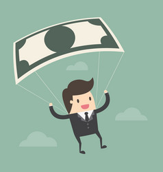 businessman using bank note as a parachute vector image