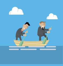 businessmen are working in a team in the same boat vector image