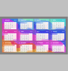 calendar design for 2019 week starts on monday vector image