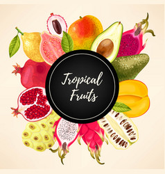 Card with tropical fruits vector