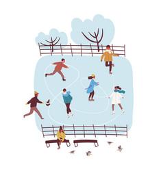 Cartoon active people enjoying ice skating vector