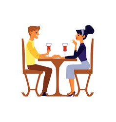cartoon couple talking and drinking wine sitting vector image