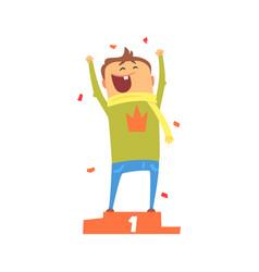 cartoon happy man standing on winner podium vector image